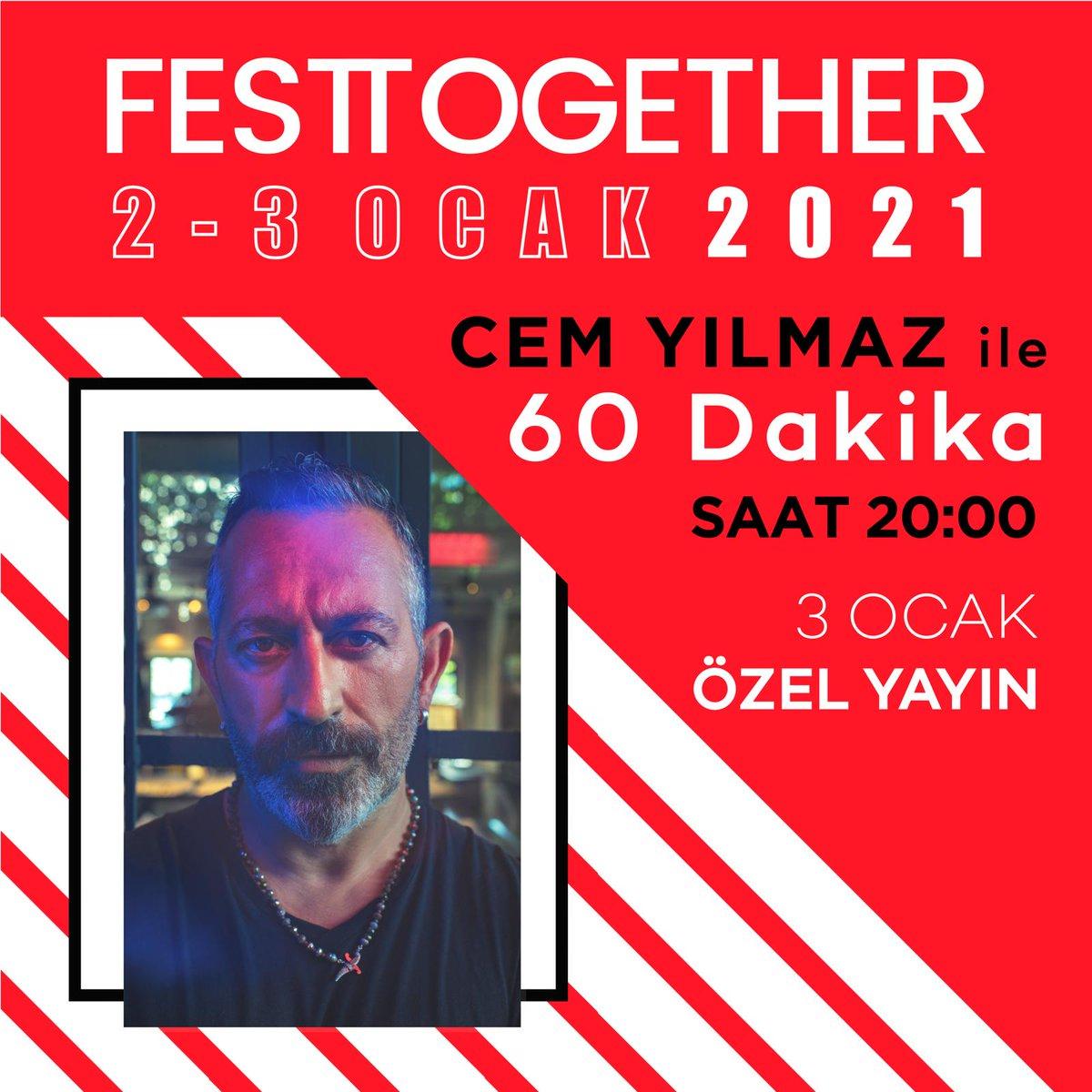 Cem Yılmaz ile Canlı 60 Dakika, birazdan #Festtogether'da! 🧡💙  ✨ Biletleri @MobiletOfficial üzerinden satın alabilirsiniz. 🔗 🎉 Yayını  adresinden izleyebilirsiniz.  #EvdenDestekOl #birkirabirsahne  @ihtiyacharitasi @CMYLMZ