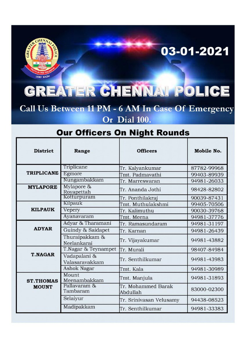 @chennaipolice_ officers on night duty. Pl feel free to contact in case of any emergency.
