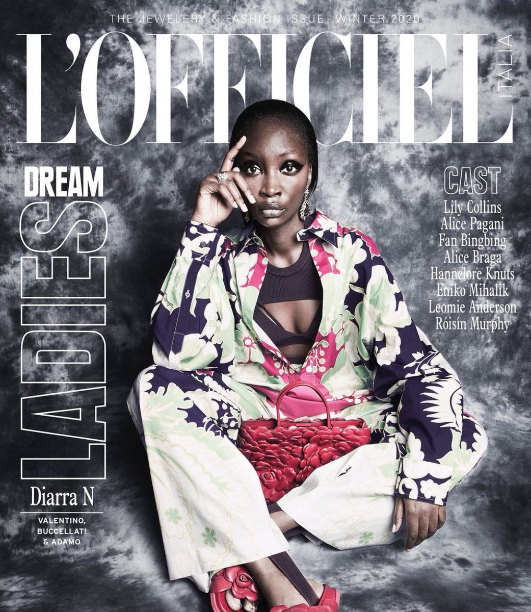 For the Jewelry and Fashion Issue of @LOfficielItalia, #Diarrandiaye was photographed by #AlbertoTandoi in a floral printed look from #ValentinoDiary, along with an #AtelierBag Valentino Garavani 03 Rose Edition and Valentino Garavani Atelier Shoes.  #ValentinoNewsstand