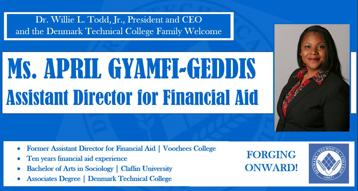 Please join us in welcoming our new assistant director for financial aid, April Gyamfi-Geddis - a professional in the field of financial aid with over ten years of experience. She is a graduate of DTC and holds a bachelor's in sociology and criminal justice from Claflin.