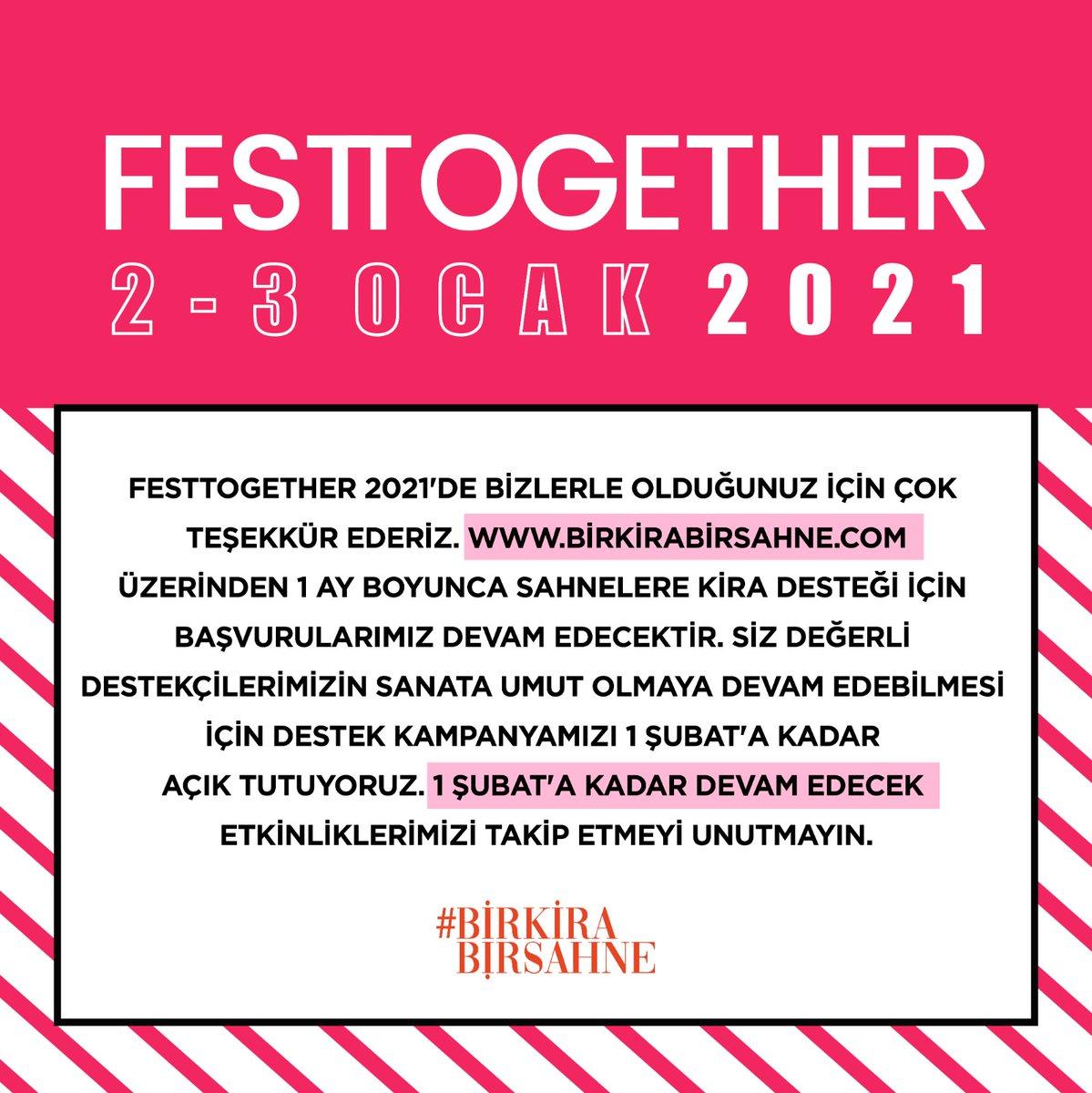 #Festtogether 2021'de bizlerle olduğunuz için teşekkür ederiz. Etkinlik kapsamında bireysel başvurular kapanmıştır ancak sahneler için başvurular ve sanata umut olmak için destekler 1 Şubat 2021 tarihine kadar devam etmektedir. #birkirabirsahne