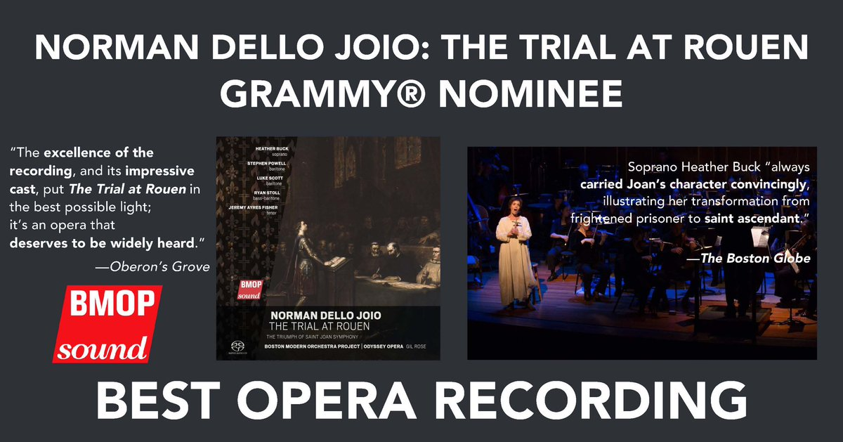 Two days remain in final round voting for the #GRAMMY® Awards. The last day to vote is tmrw, Jan. 4, 2021. To the eligible voting members of the Recording Academy, thank you #foryourconsideration of Norman Dello Joio: The Trial at Rouen in the category of Best Opera Recording.
