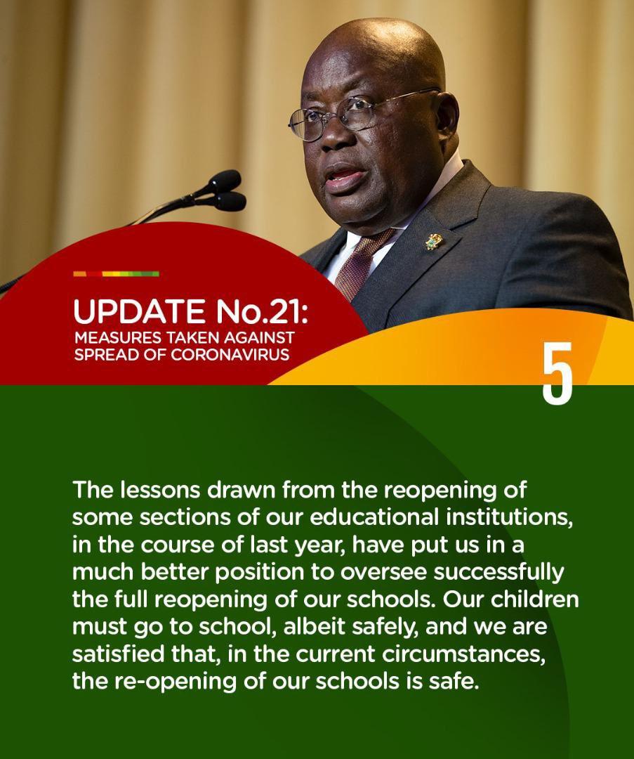 Update No. 21: Measures taken to combat spread of Coronavirus.  #PresidentAkufoAddoSpeaksOnCoronavirus #COVID19 https://t.co/odbr1SStec
