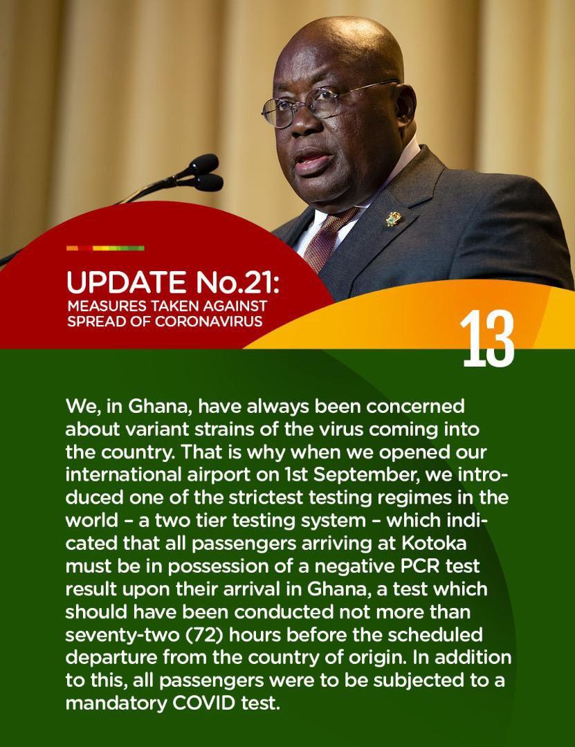 Update No. 21: Measures taken to combat spread of Coronavirus.  #PresidentAkufoAddoSpeaksOnCoronavirus #COVID19 https://t.co/XNLOIExSJz