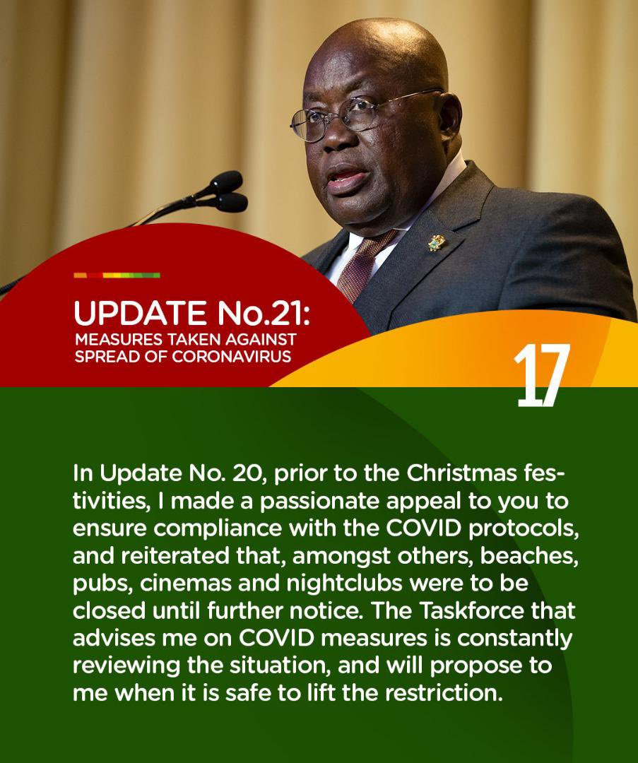 Update No. 21: Measures taken to combat spread of Coronavirus.  #PresidentAkufoAddoSpeaksOnCoronavirus #COVID19 https://t.co/uHDvLyxYE4