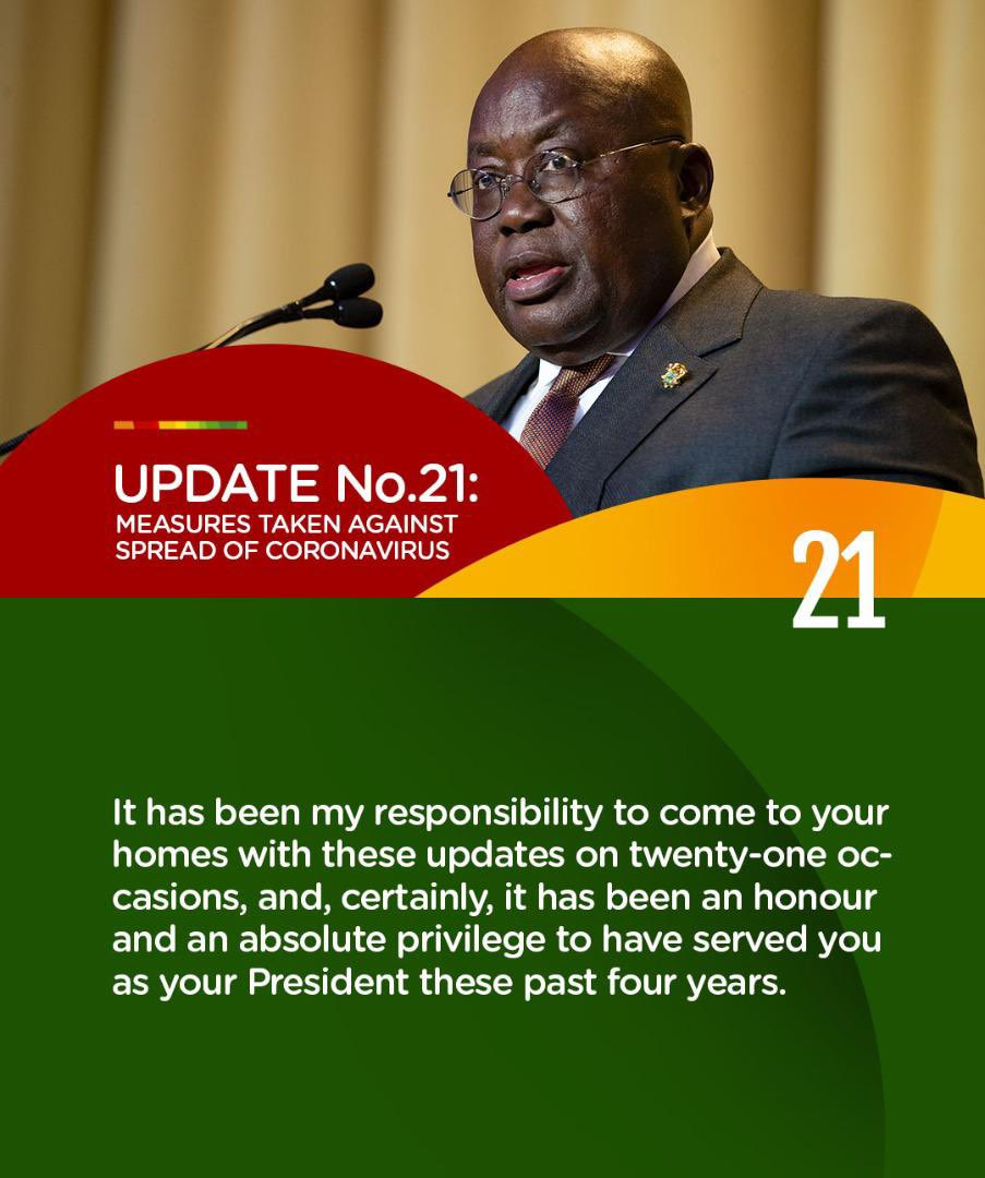 Update No. 21: Measures taken to combat spread of Coronavirus.  #PresidentAkufoAddoSpeaksOnCoronavirus #COVID19 https://t.co/RsBNBll8aN