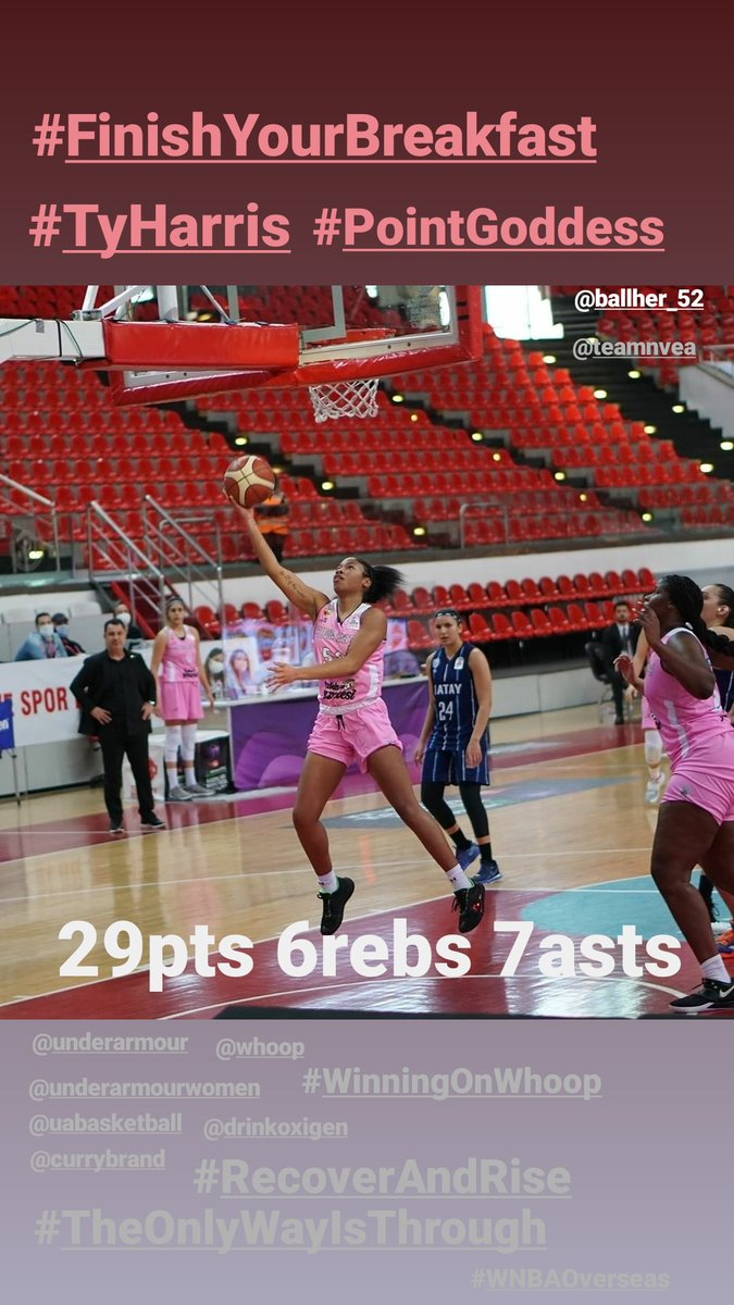 . Just #AnotherDayInTheOffice for @TyHarris_52 #TH52 ‼️  29pts 6 rebs 7asts 👀👀  #FinishYourBreakfast #PointGoddess #TruePG   #TheOnlyWayIsThrough @UAbasketball @UAWomen   #RecoverAndRise @DrinkOxigen  #WinningOnWhoop @whoop   @FIBA @EuroCupWomen @WNBA @DallasWings @GamecockWBB