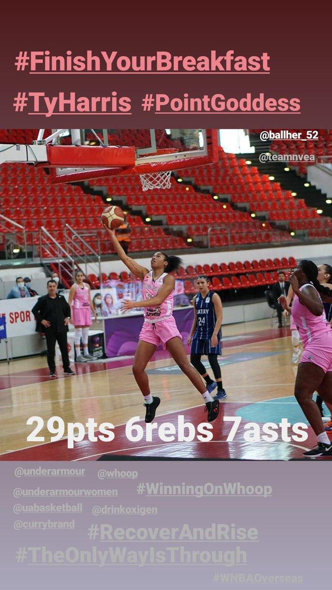 . Just #AnotherDayInTheOffice for @TyHarris_52 #TH52 ‼️  29pts 6 rebs 7asts 👀👀  #FinishYourBreakfast #PointGoddess #TruePG   #TheOnlyWayIsThrough @UAbasketball @UAWomen   #RecoverAndRise @DrinkOxigen  #WinningOnWhoop @whoop   @FIBA @EuroCupWomen @WNBA @DallasWings @GamecockWBB