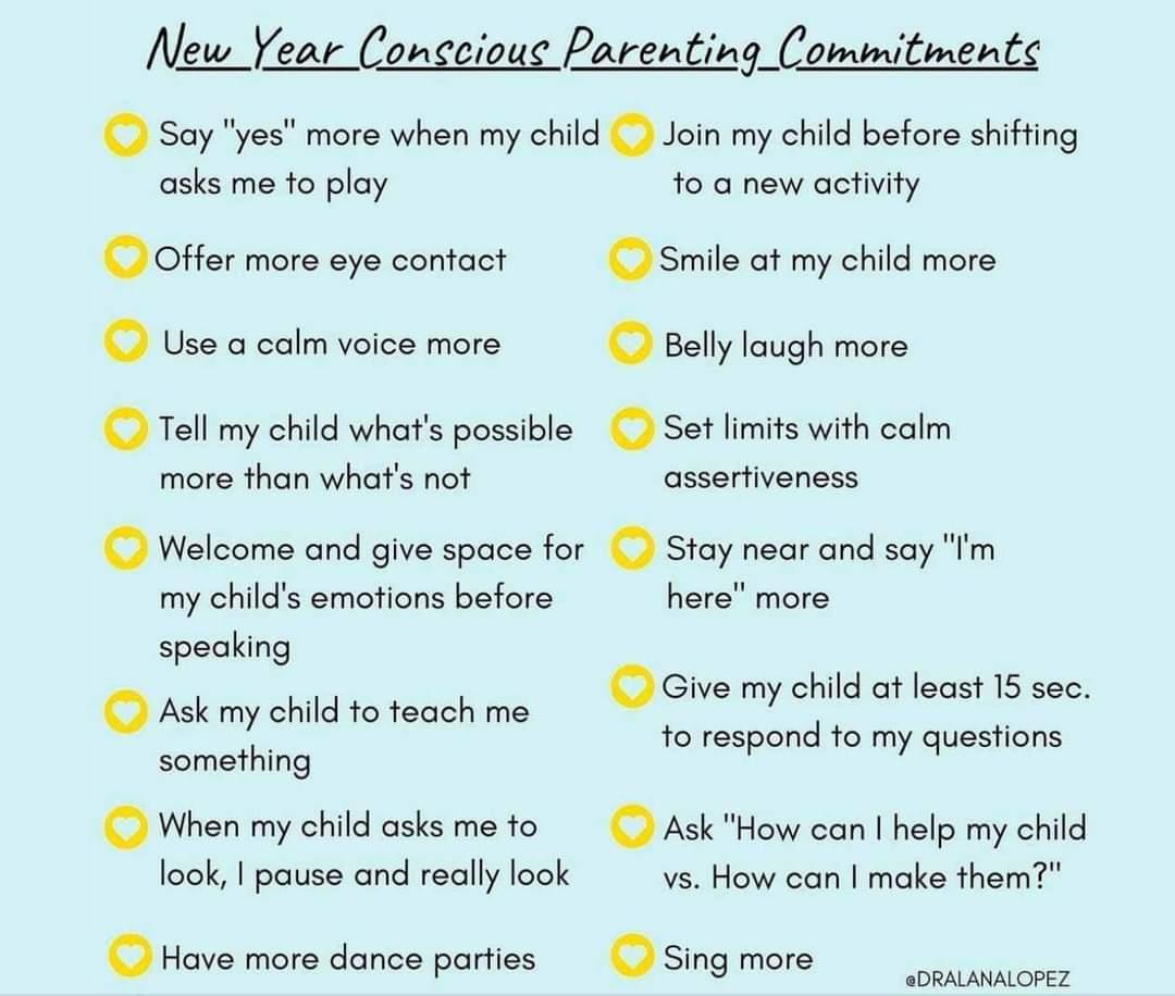 New Year Conscious Parenting Committments. #SEL #parenting #parentingtips #kidsdeserveit 📸: Dr. Lana Lopez