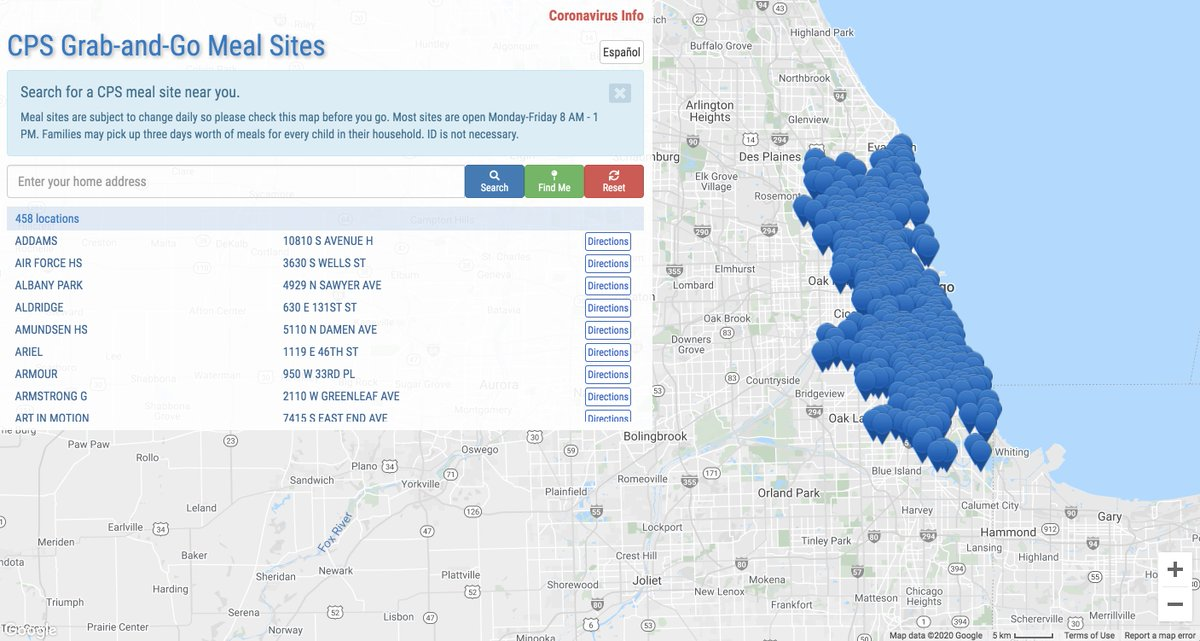 REMINDER: Meal distribution sites are open 8 am - 1 pm Mon - Fri at more than 450 schools districtwide.    Use the CPS Grab-and-Go Meal Site Finder to locate the school with meals nearest your family:
