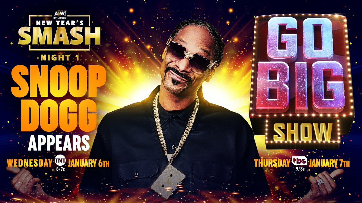 In celebration of the @GoBigShowTBS premiering on Thursday, January 7th on @TBSNetwork. One of the panel judges, hip-hop & cultural icon @SnoopDogg will appear LIVE during Night 1 of our New Year's Smash!  Tickets are available NOW and start at $20 via