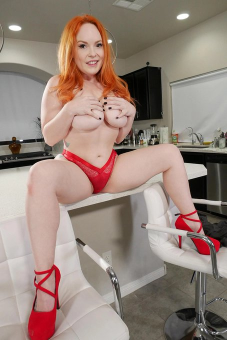 3 pic. Hot Busty Redhead @SummerHartxxx in Sexy Red Lingerie loves to tease.... Check her out in this