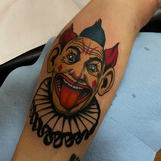 """""""Clowns drink to blot out the ravages of terrifying children for a living."""" .. I tattooed this clown"""