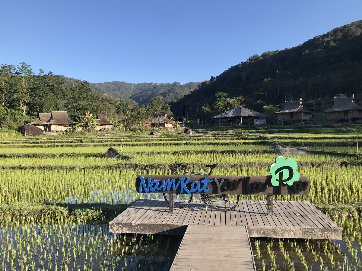 Nam Kat Yor La Pa in Oudomxay, northern Laos. A successful example of ecotourism in a protected area - a lovely hotel, walks, zip lining, swimming pools and cycling, which provides employment for the local Khmu villagers. #ecotourism #laos @UKinLaos @discover_laos @laostourism https://t.co/SWqsgGUcWB
