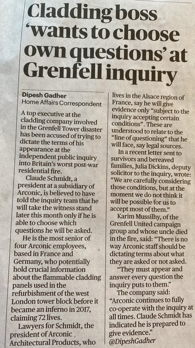 'Cladding boss 'wants to choose own questions' at #Grenfell Inquiry.' @DipeshGadher for @thesundaytimes   There is no way @arconic staff should be dictating terms about what they are asked or not asked!
