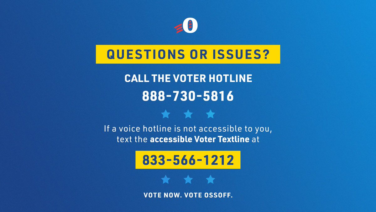 Call the GA Voter Protection Hotline with any voting questions you have.   They are here to help >> 888-730-5816