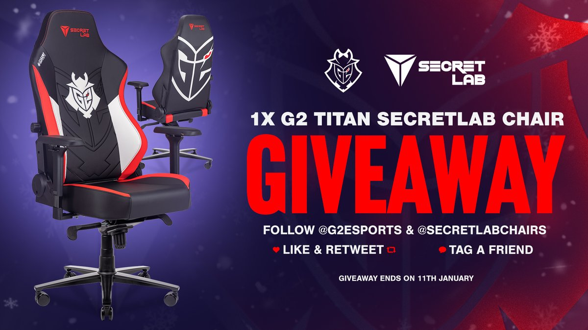 New year, new chair giveaway!  We are giving away 1x G2 Secretlab TITAN chair!  To enter: ✅ Follow @G2esports and @secretlabchairs ♥️🔁 Like and Retweet  💬 Tag a friend you'll rank up with this year