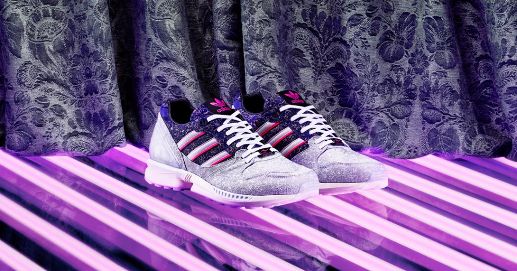 The latest installment in our A-ZX range is a celebration of french design. The ZX 5000 Vieux Lyon has an intricate Jacquard weave on the upper and is taken to the next level with custom lace jewels.  Launching globally on Jan 8 at .  #adidasZX #AtoZX
