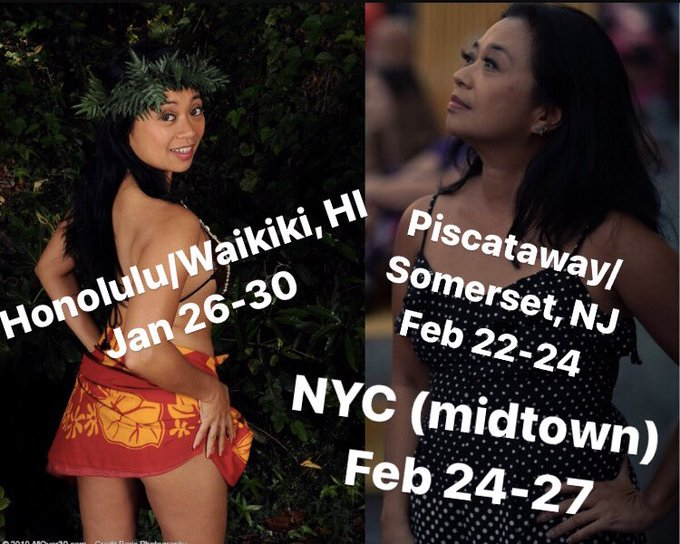 I'm officially announcing my touring dates in Jan and Feb: Honolulu/Waikiki, HI, Jan 26-30, Piscataway/