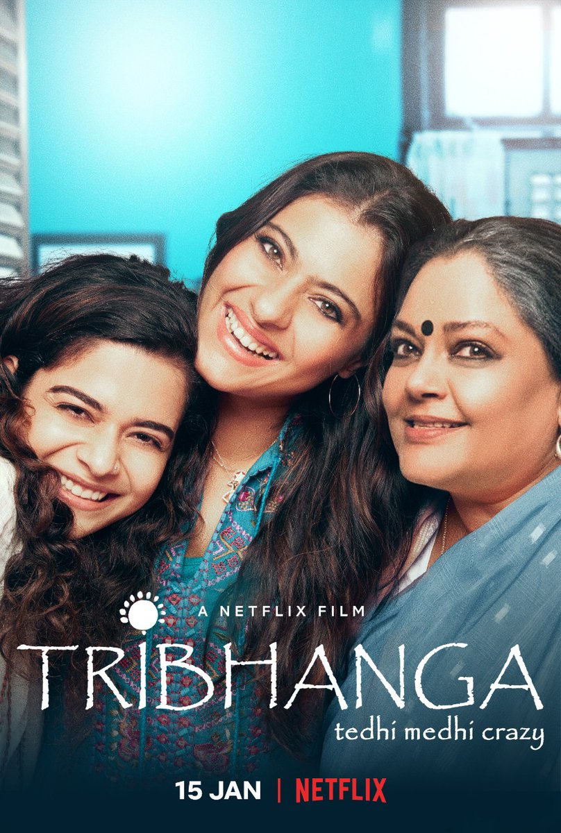 Tribhanga trio tuning in soon! Releasing on Netflix, on the 15th of January 2021.  @ajaydevgn @ADFFilms @Banijayasia @deepak30000 @NegiR @AlchemyFilms @sidpmalhotra @ParagDesai @mipalkar @renukash @ikunaalroykapur @Meena_Iyer @KumarMangat @NetflixIndia