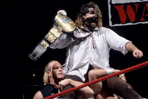 """""""The Finger Poke of Doom"""" was #WCW's answer to what happened in the #WWERaw taping, where Mankind defeated The Rock to win his first WWF Championship, which saw The Corporation, D-Generation X and Stone Cold Steve Austin all get involved!! #MondayNightWars #WWE"""