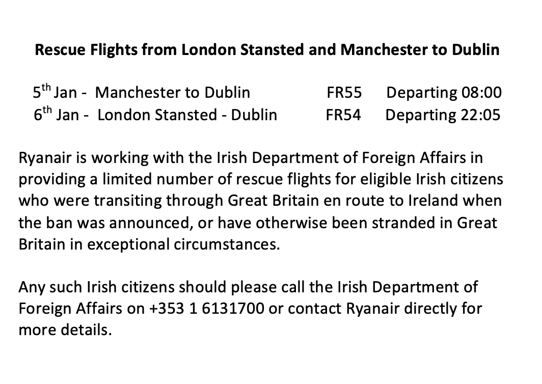 We are providing more rescue flights for eligible Irish citizens impacted by the UK travel ban, please see the details here: https://t.co/6D73KwiKvu