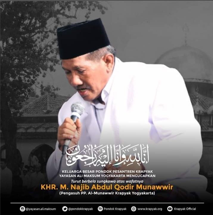 Innaa lillaahi wa innaa ilaihi raajiuun..  Menjelang Maghrib mendapat kabar  lelayu, wafatnya Mbah Yai Najib, Sang Penjaga Quran, salah satu jimat Krapyak. Sedih banget Ya Allaah.. 😭  Lahul Faatihah