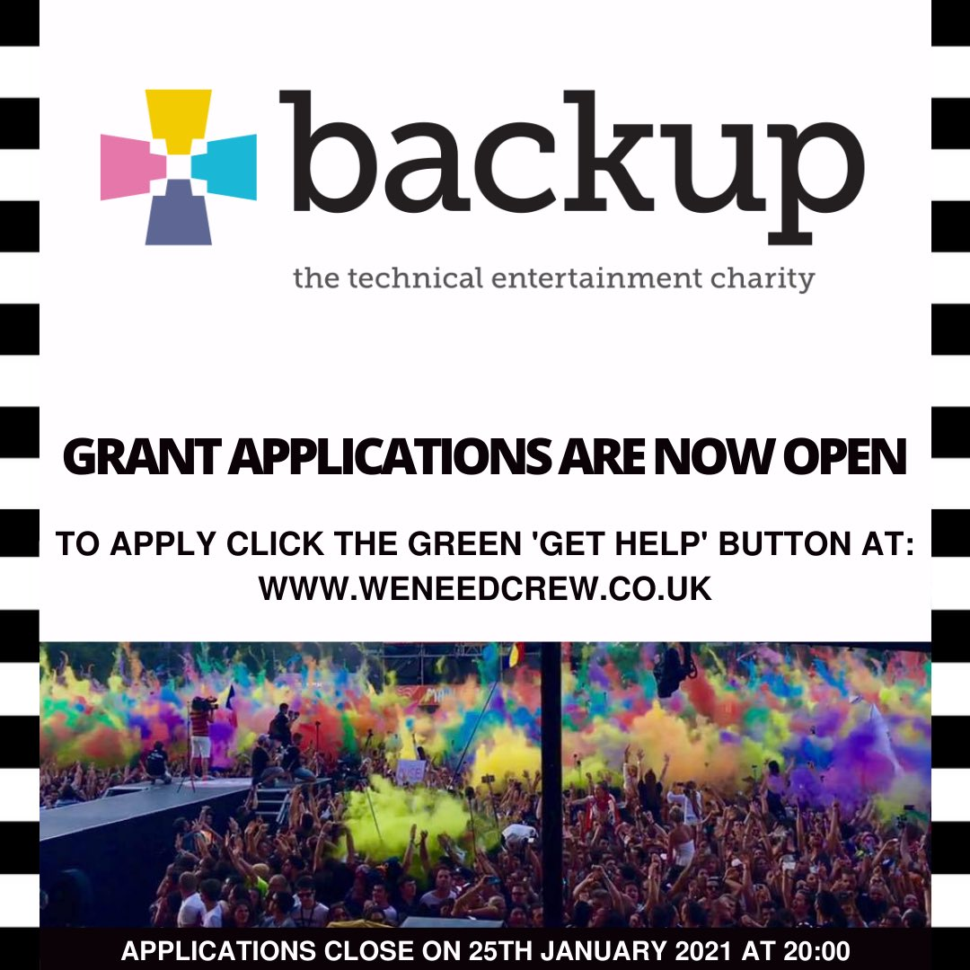 With thanks again to everyone who has donated to Backup so far across the different platforms. Without you these grants would not be possible.     #weneedcrew  #wemakeevents  #letthemusicplay  #weareviable  #touring  #roadies
