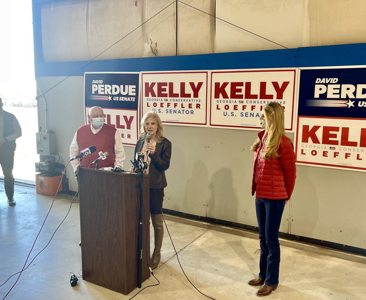 HAPPENING NOW: Senator Loeffler, @KellyannePolls, and former Governor Sonny Perdue kicking off an aggressive Get Out The Vote tour this morning in Atlanta.   They will reach voters in every corner of the state today to encourage Republicans to vote Tuesday.   🇺🇸 #GAsen #GApol