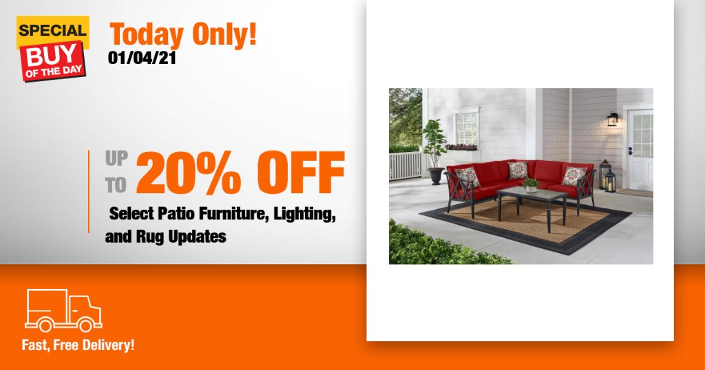 Update your outdoor space from top to bottom with savings on select patio furniture, lighting, and rug updates from Home Depot's online only Special Buy of the Day! https://t.co/HZD86kqjP5 https://t.co/vLIIhdf81R