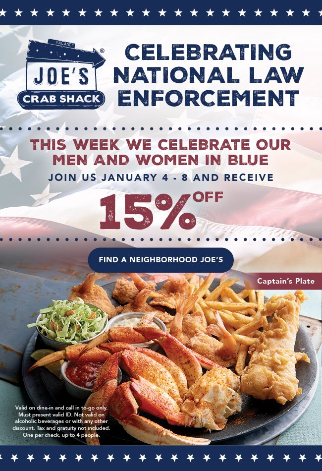 We're honoring National Law Enforcement Day and offering 15% off your meal as a thank you to those who protect and serve us. Available Monday, January 4 - Friday, January 8. Learn more:
