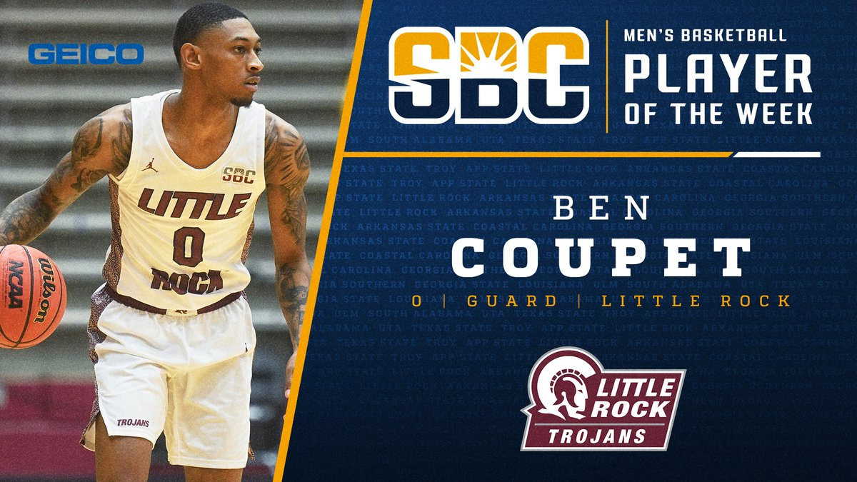 Little Rocks Ben Coupet Jr. named #SunBeltMBB Player of the Week. He scored a combined 5️⃣3️⃣ pts on 77.3% shooting (17-of-22), including a blistering 73.3% (11-of-15) 3️⃣ pointers, helping lead @LittleRockMBB to 2️⃣ SBC wins. sunbelt.me/2LhfGjK Thanks to #Geico