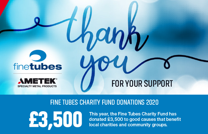 As we start 2021, we celebrate the @ametekmetals Fine Tubes Charity Fund, which donated £3,500 to local organizations across #Devon & #SouthWestEngland in 2020. Well done, team! Learn more: https://t.co/36FbFj9ES2 https://t.co/PX4pq4bShP