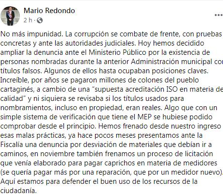 Replying to @Roger_Retana: Importante denuncias de corrupción de Mario Redondo; con razón el PAC lo odia tanto.