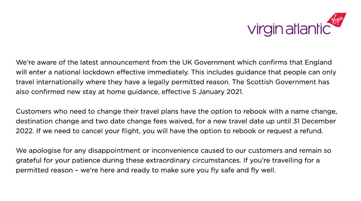 We're aware of the latest announcement from the UK Government, including guidance that people can only travel internationally where they have a legally permitted reason. For further information please visit our Latest Travel News: