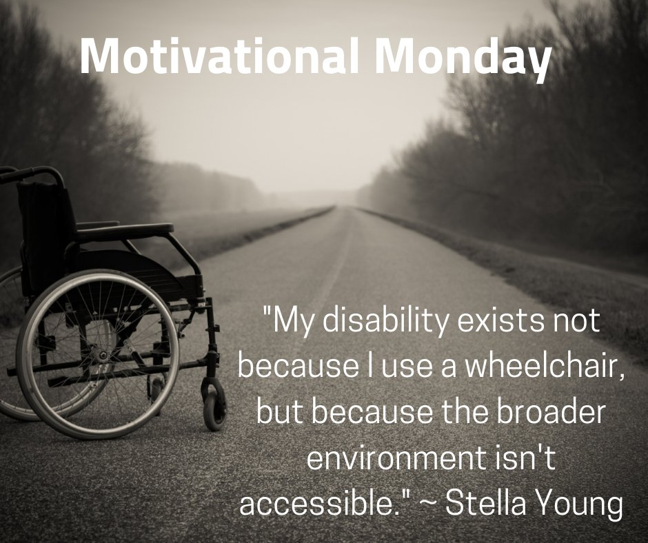 "#MotivationalMonday: ""My disability exists not because I use a wheelchair, but because the broader environment isn't accessible."" ~ Stella Young  #independentliving  #drcfredericksburg #cildrc #disability #disabilities #livelifeyourway #disabilityresources #mondaymotivation"