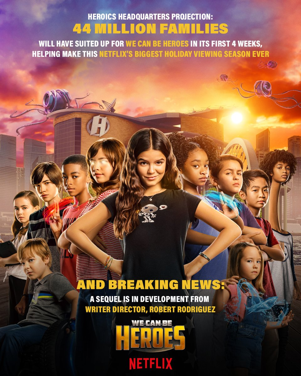 44 MILLION FAMILIES will have suited up for WE CAN BE HEROES in its first 4 weeks!!  And… BREAKING NEWS: The Heroics are coming back for round two! I'm in full development of the sequel with @Netflix!