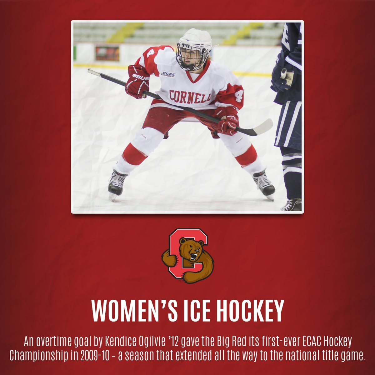 WIH: An overtime goal by Kendice Ogilvie '12 gave @CornellWHockey its first-ever ECAC Hockey Championship in 2009-10 – a season that extended all the way to the national title game. #YellCornell https://t.co/c034ZYZoAR