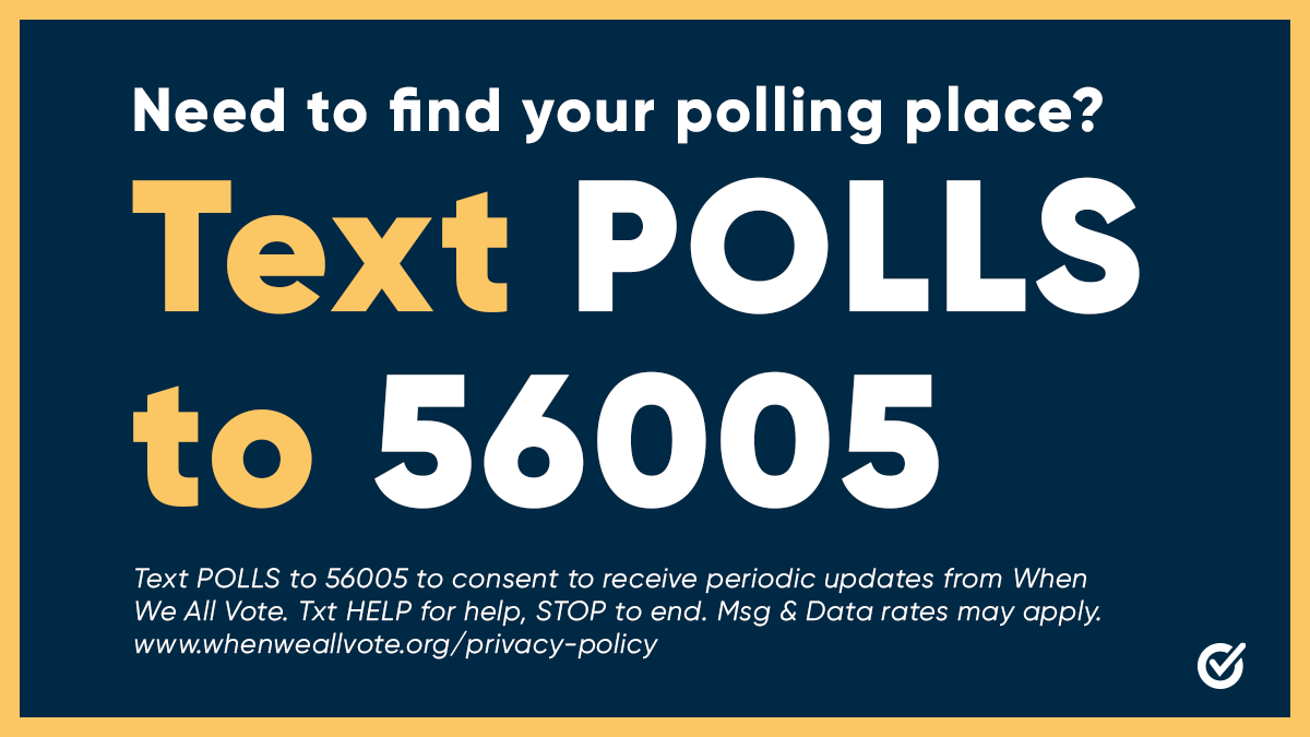 Georgia, get ready to make history at the ballot box tomorrow.   Text POLLS to 56005 to find your polling place NOW, and make a plan to bring your #VotingSquad to the polls tomorrow.