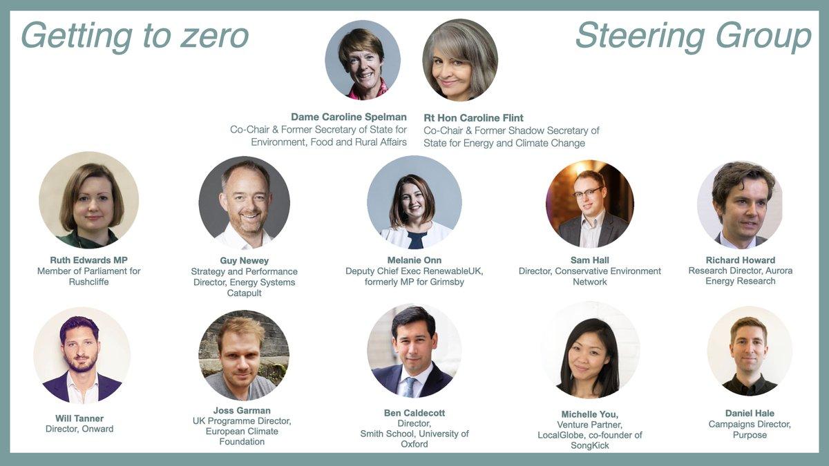 Co-chairing with  Dame Caroline here's our steering group for #gettingtozero.  @RuthEdwardsMP ; @guynewey; @OnnMel; @samuelhall0; @UKenergywonk; @Will_Tanner; @jossgarman; @bencaldecott; @wreckingball37; @danielhale https://t.co/MXiDFHoida