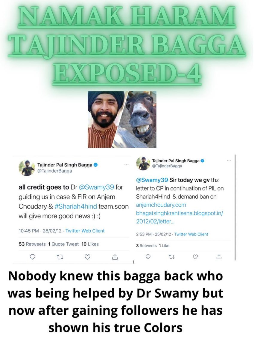 Namak Haram ⁦@TajinderBagga⁩ & his mother for numerous issue in past sought help from Dr @Swamy39 & was touching his feet now been paid by vested interests to spread disinformation!Karma catches with them all Fake IT-ID Gang, see his previous tweets  in praise of @Swamy39
