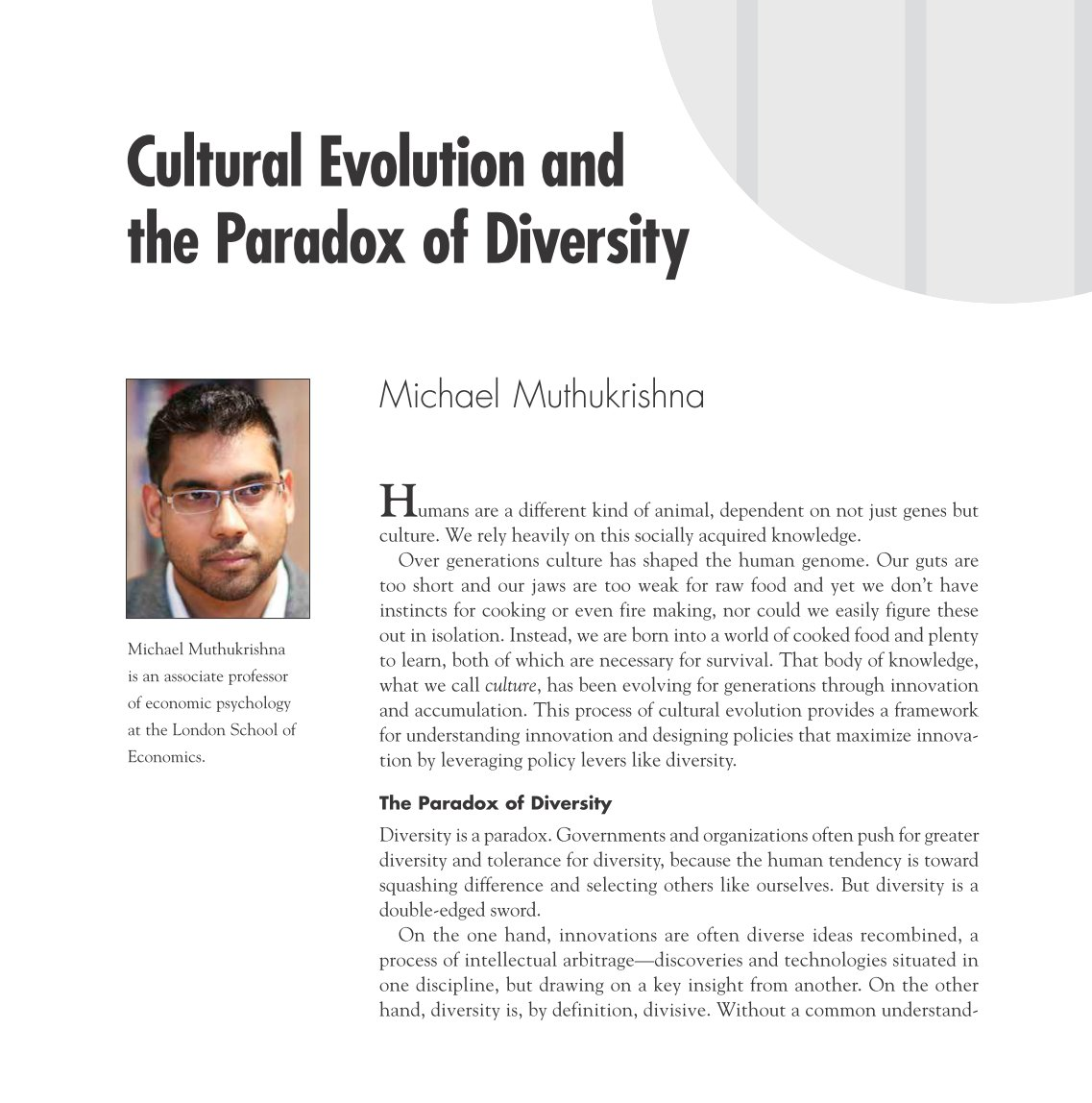 Cultural evolution and the paradox of diversity