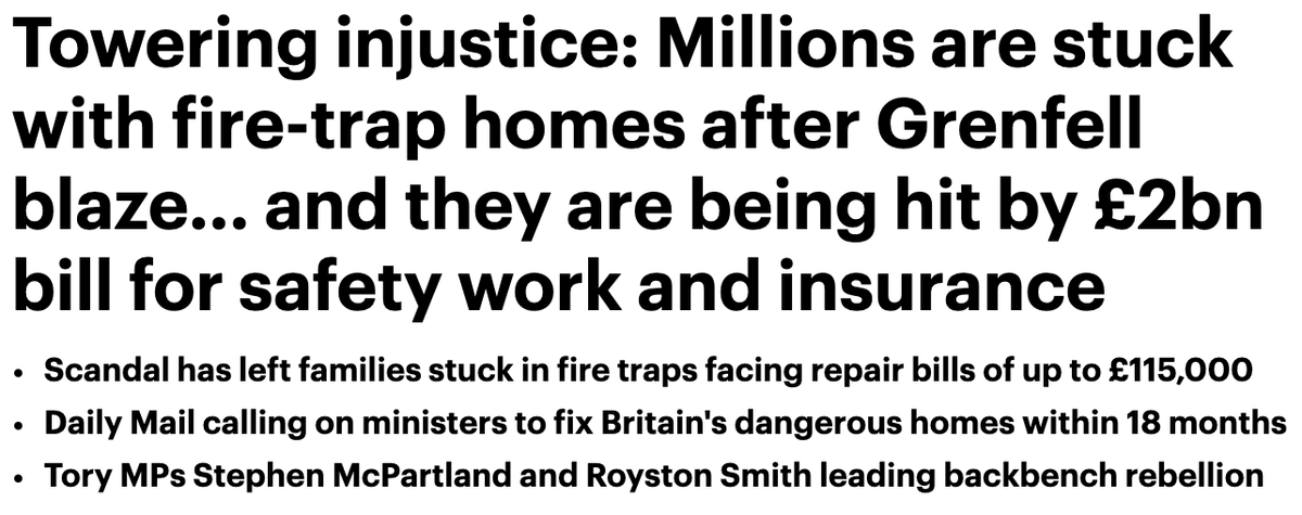 'Millions are stuck with fire-trap homes'   @DailyMailUK calls on ministers to fix Britain's dangerous homes within 18 months and to spare leaseholders the crippling financial burdens.  (Note picture of fire in link)