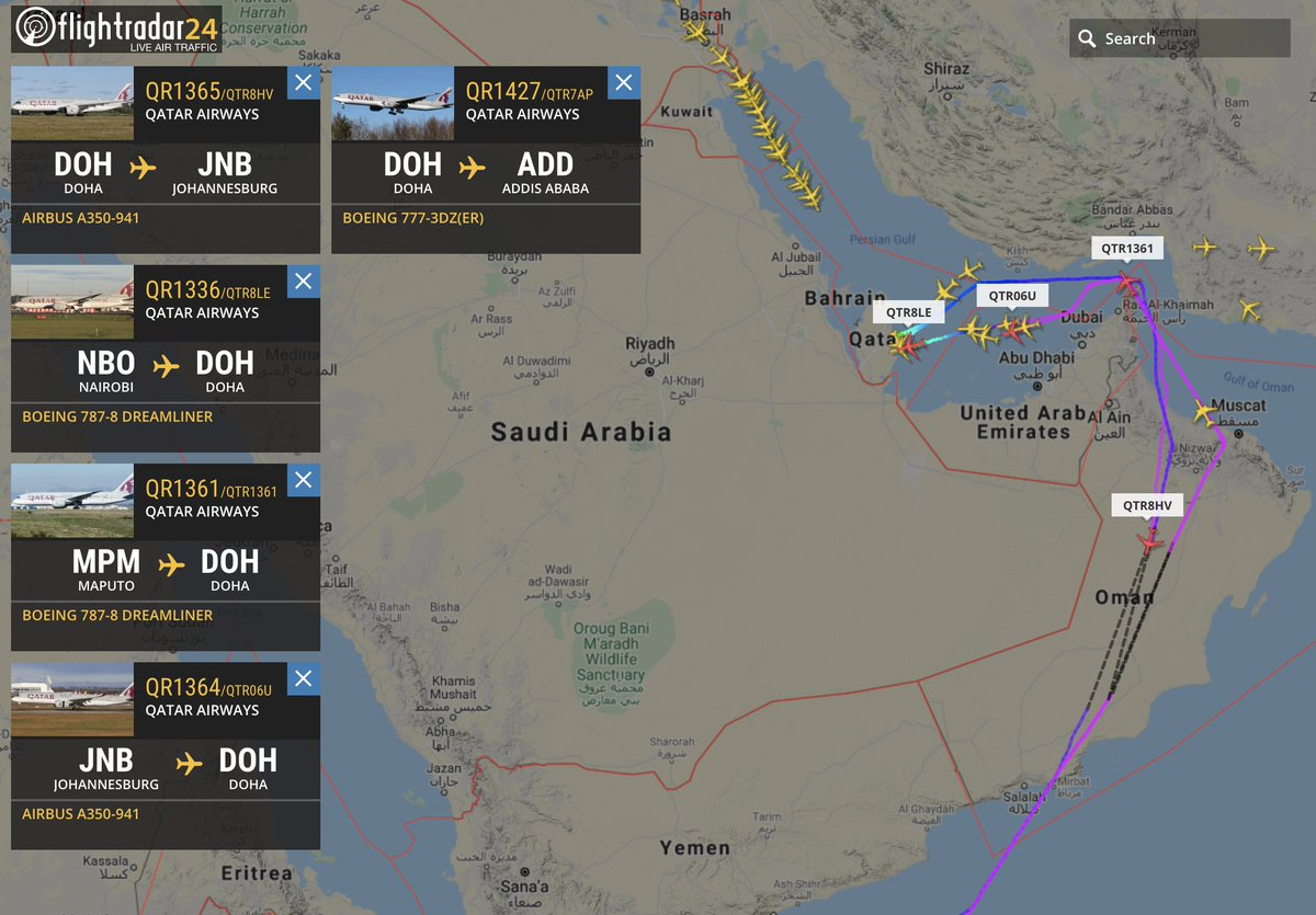 """Flightradar24 on Twitter: """"The blockade of Qatar put in place by  neighboring countries is set to end this evening. Since June 2017, flights  by Qatar Airways have had to fly around Saudi"""