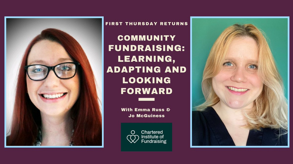 It's First Thursday THIS Thursday & we are thrilled to be joined by @EmmaRuss1103 & @JoFundraising the brains behind @managersmeetups Emma & Jo will be joining us to discuss the challenges of Community Fundraising now & what 2020 taught them. Join us - eventbrite.co.uk/e/chartered-in…
