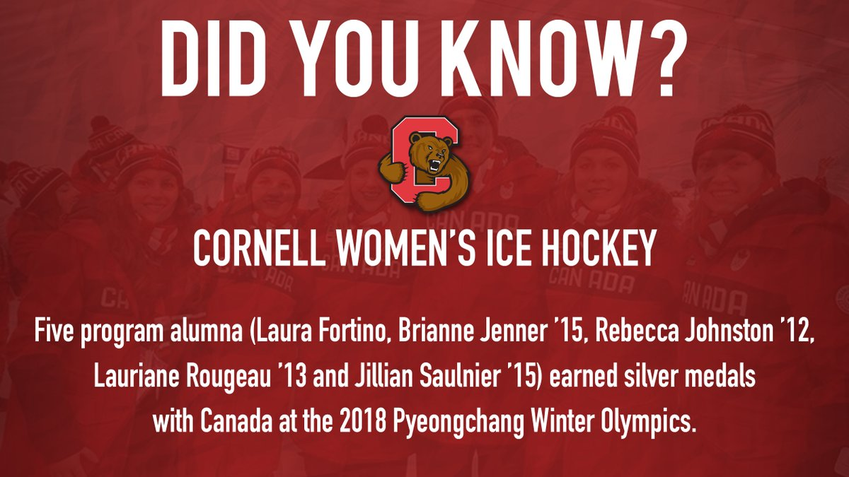 WIH: Did You Know- Five @CornellWHockey alumna (Laura Fortino, Brianne Jenner '15, Rebecca Johnston '12, Lauriane Rougeau '13 and Jillian Saulnier '15) earned silver medals with Canada at the 2018 Pyeongchang Winter Olympics. #YellCornell https://t.co/Sd3oxDB3S4