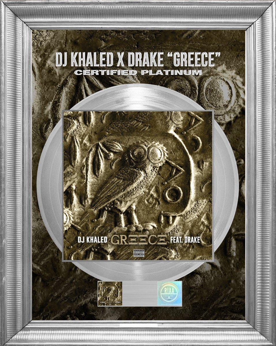 Happy MONDAY 🌞 #GREECE 🇬🇷 officially certified PLATINUM 💿 #DJKHALED FEAT @Drake ! 🦉🔑 Bless up @wethebestmusic #OVO @ozmusicproducer   KHALED KHALED