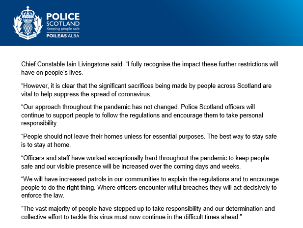 Statement from Chief Constable @CC_Livingstone following the announcement of the latest #COVID19 restrictions.