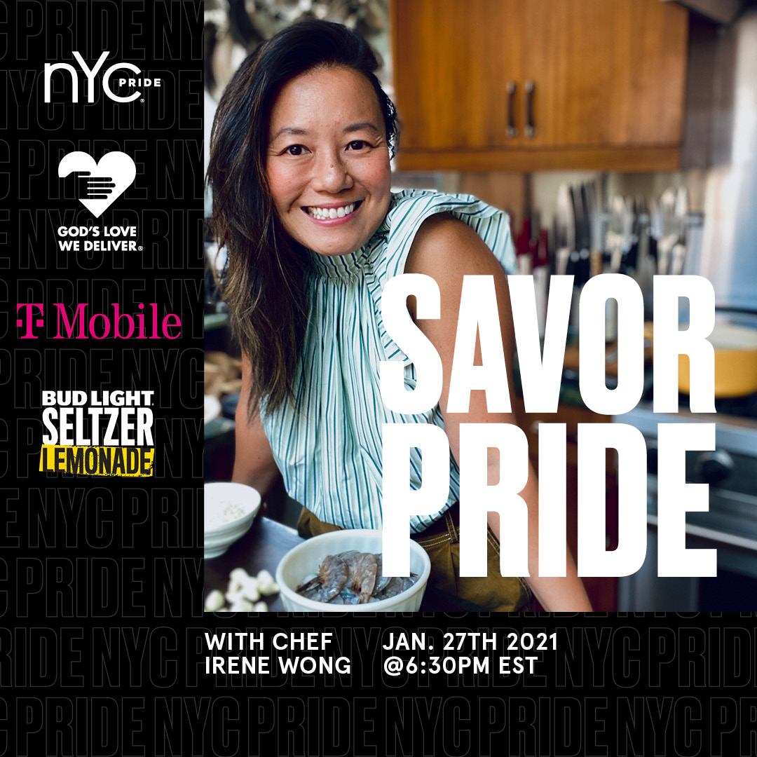 We are so excited to bring back #SavorPride with @NYCPride for 2021! Our one-of-a-kind immersive culinary fundraiser will start with award-winning Producer and Director Chef Irene Wong on January 27! Get your tickets: