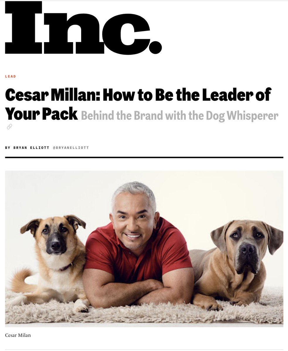 As someone who loves dogs, this was a fun one for me. My new feature on @Inc with the one and only Dog Whisperer @cesarmillan 🐕  https://t.co/Ih6HKAKgid https://t.co/CGYU5WKpjN